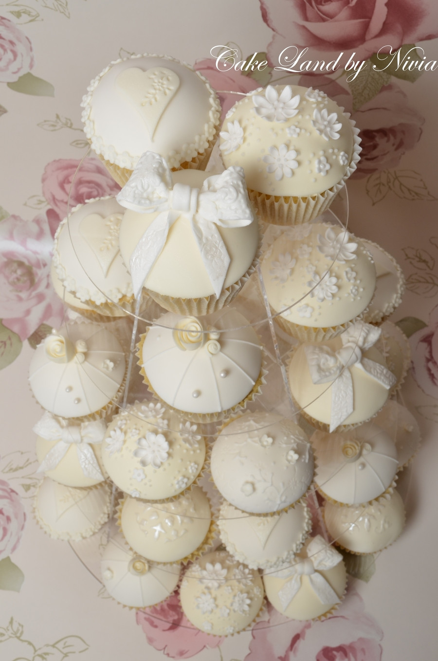 White Wedding Cake Cupcakes  White And Ivory Wedding Cupcakes CakeCentral