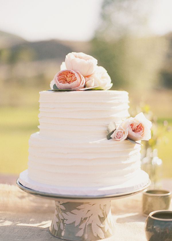 White Wedding Cake Frosting  White two tier wedding cake with textured frosting and