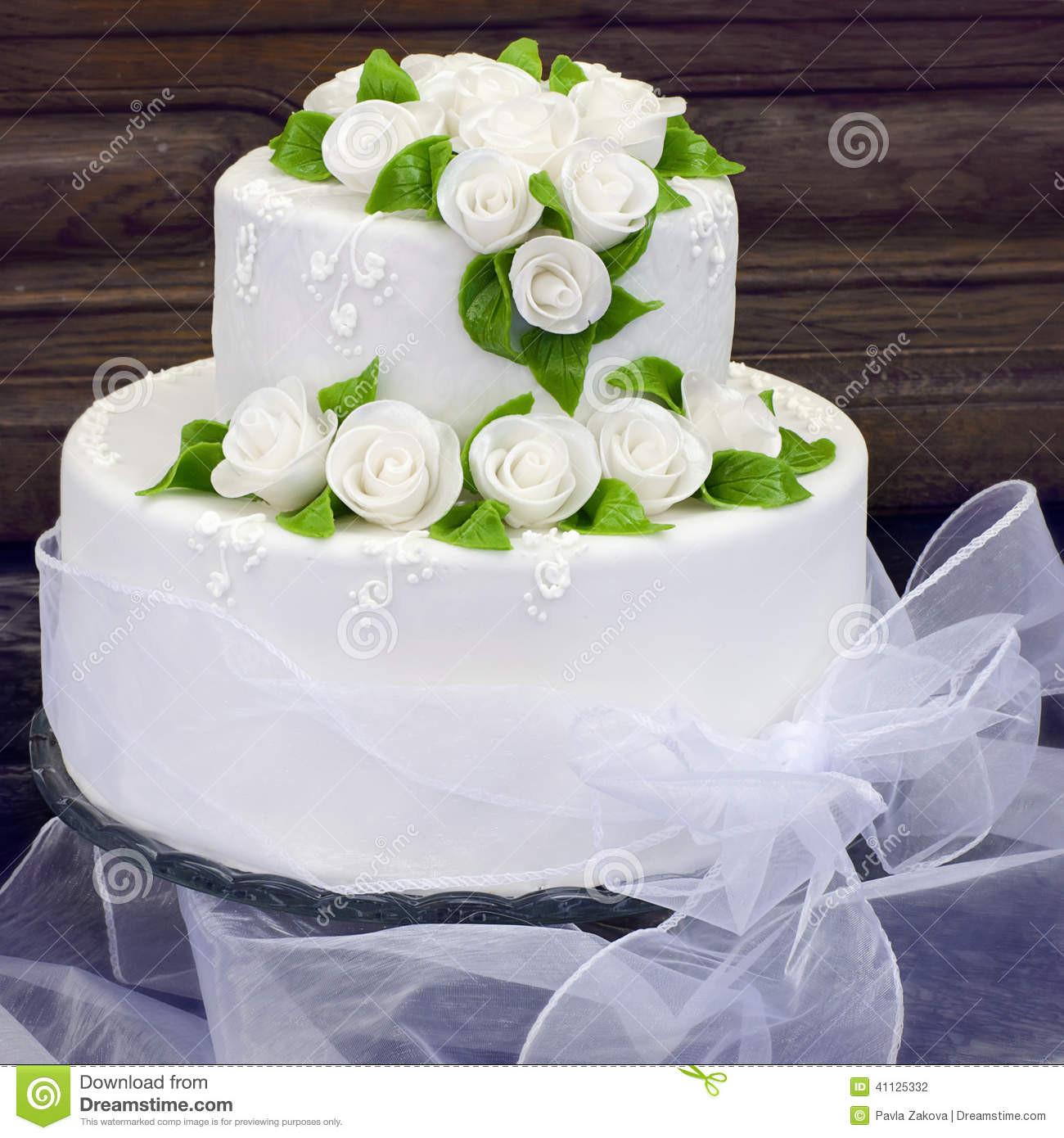 White Wedding Cake Icing  Wedding Cake Stock Image