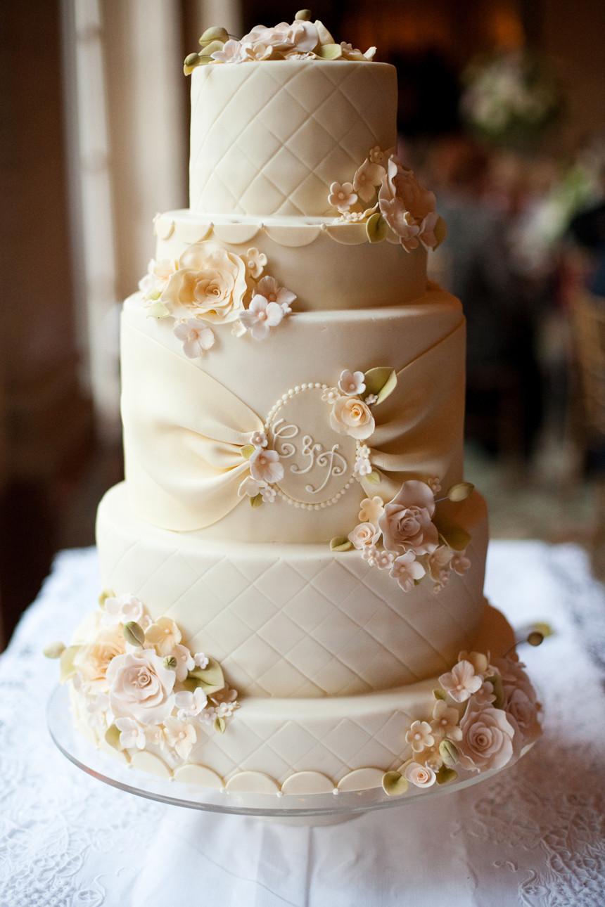 White Wedding Cake  Jackie Fo Champagne Blush and Gold Wedding Inspiration