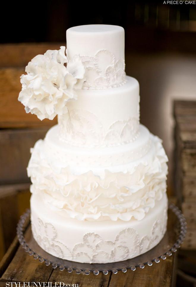 White Wedding Cake  All White Wedding Cakes Belle The Magazine