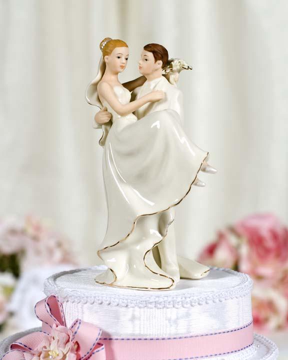 White Wedding Cake Topper  f White Porcelain Groom Holding Bride Wedding Cake