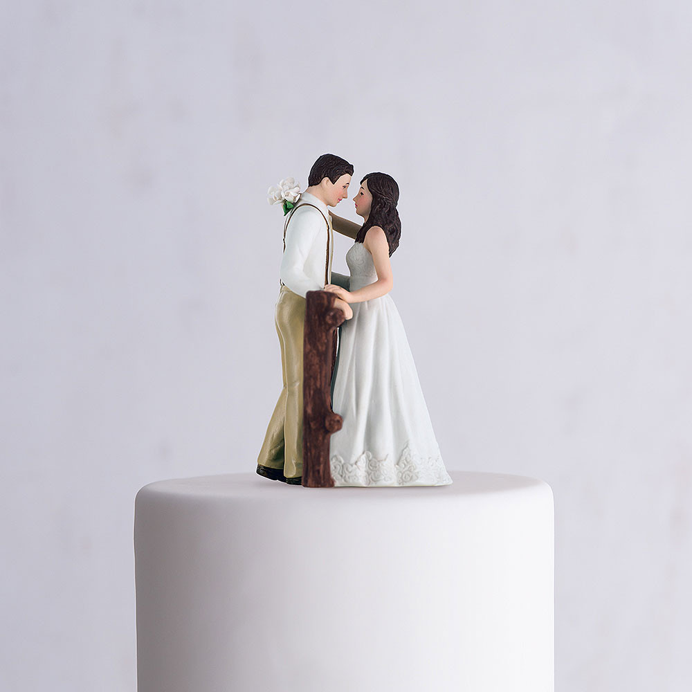 White Wedding Cake Topper  Rustic Couple Wedding Cake Topper White Dress