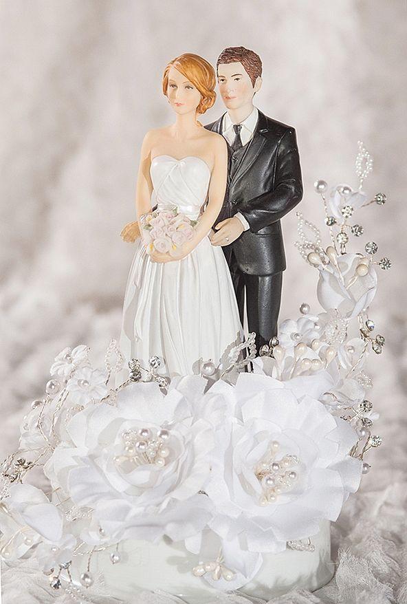 White Wedding Cake Topper  White Velvet Rose Wedding Cake Topper Custom Hair Colors