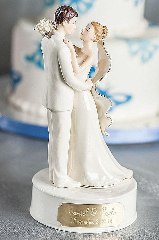 White Wedding Cake Topper  Engraveable Custom Porcelain Bride and Groom Wedding Cake