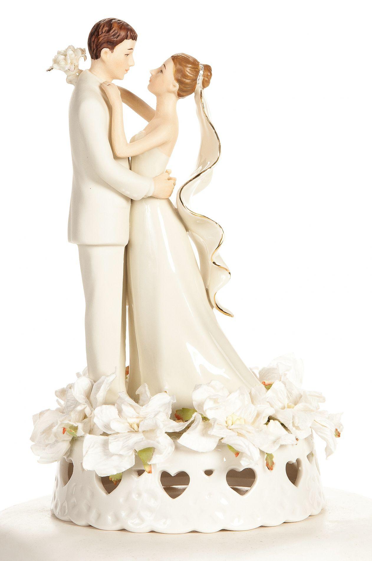 White Wedding Cake Topper  f White Gardenia Cake Topper
