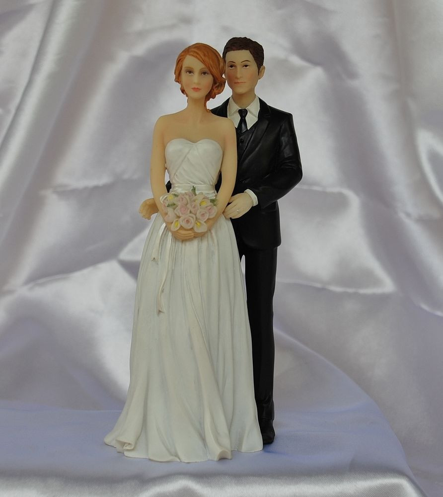 White Wedding Cake Topper  Mix & Match Contemporary Interracial White Black Wedding