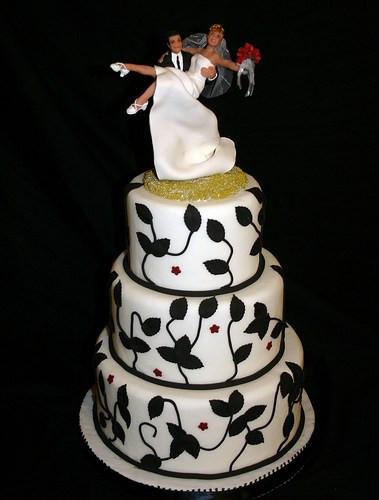 White Wedding Cake Topper  Black and White Wedding Cake Topper
