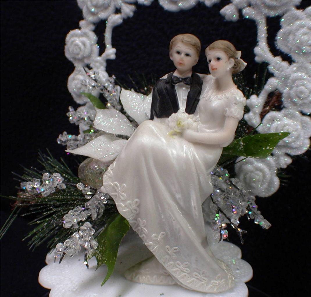 White Wedding Cake Topper  Christmas Winter Wonderland Sparkle Snow White Wedding