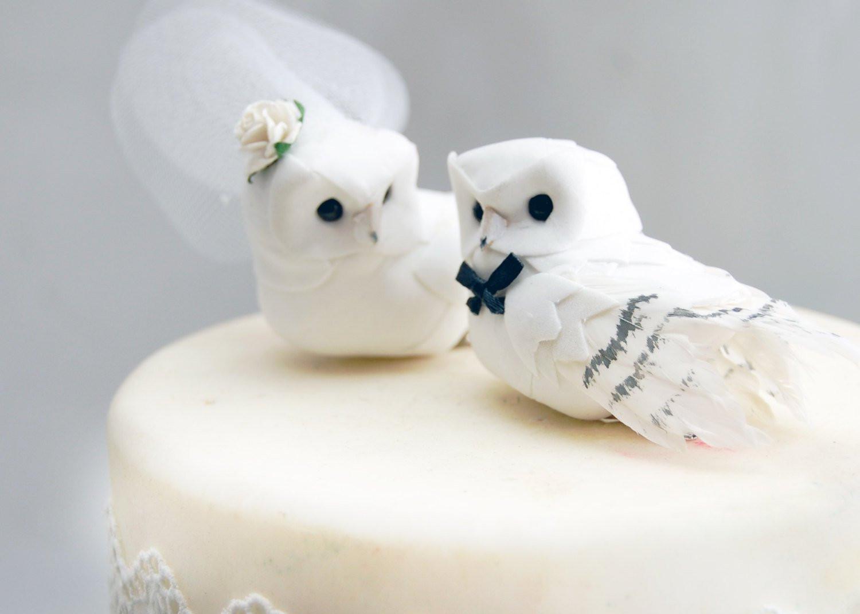 White Wedding Cake Topper  Snowy Owl Wedding Cake Topper in Winter White Rustic