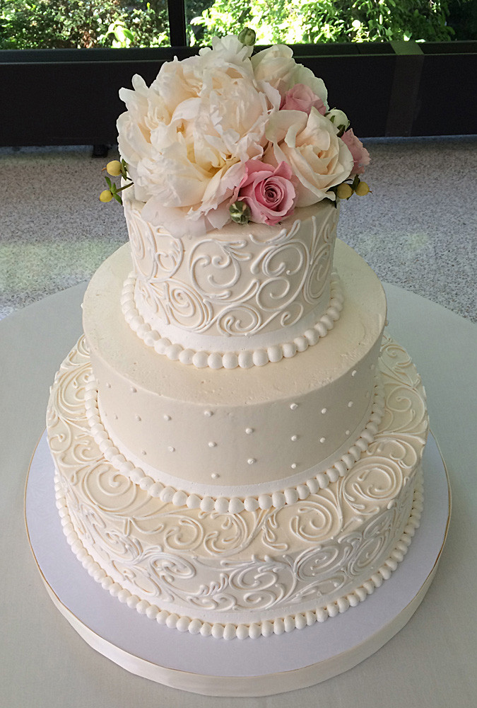 White Wedding Cake With Flowers  Classic Wedding Cakes