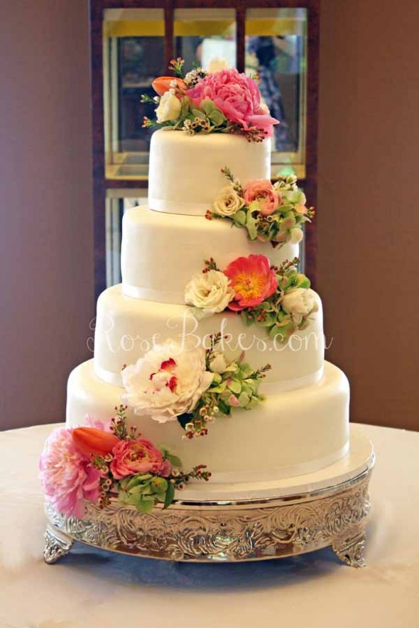 White Wedding Cake With Flowers  White Wedding Cake with Cascading Fresh Flowers Rose Bakes