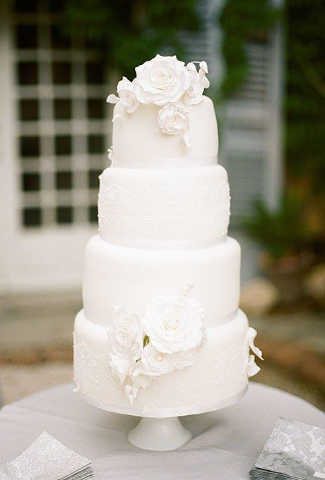 White Wedding Cake With Flowers  Perfect White Wedding Ideas Add a Pop of your Favorite Color