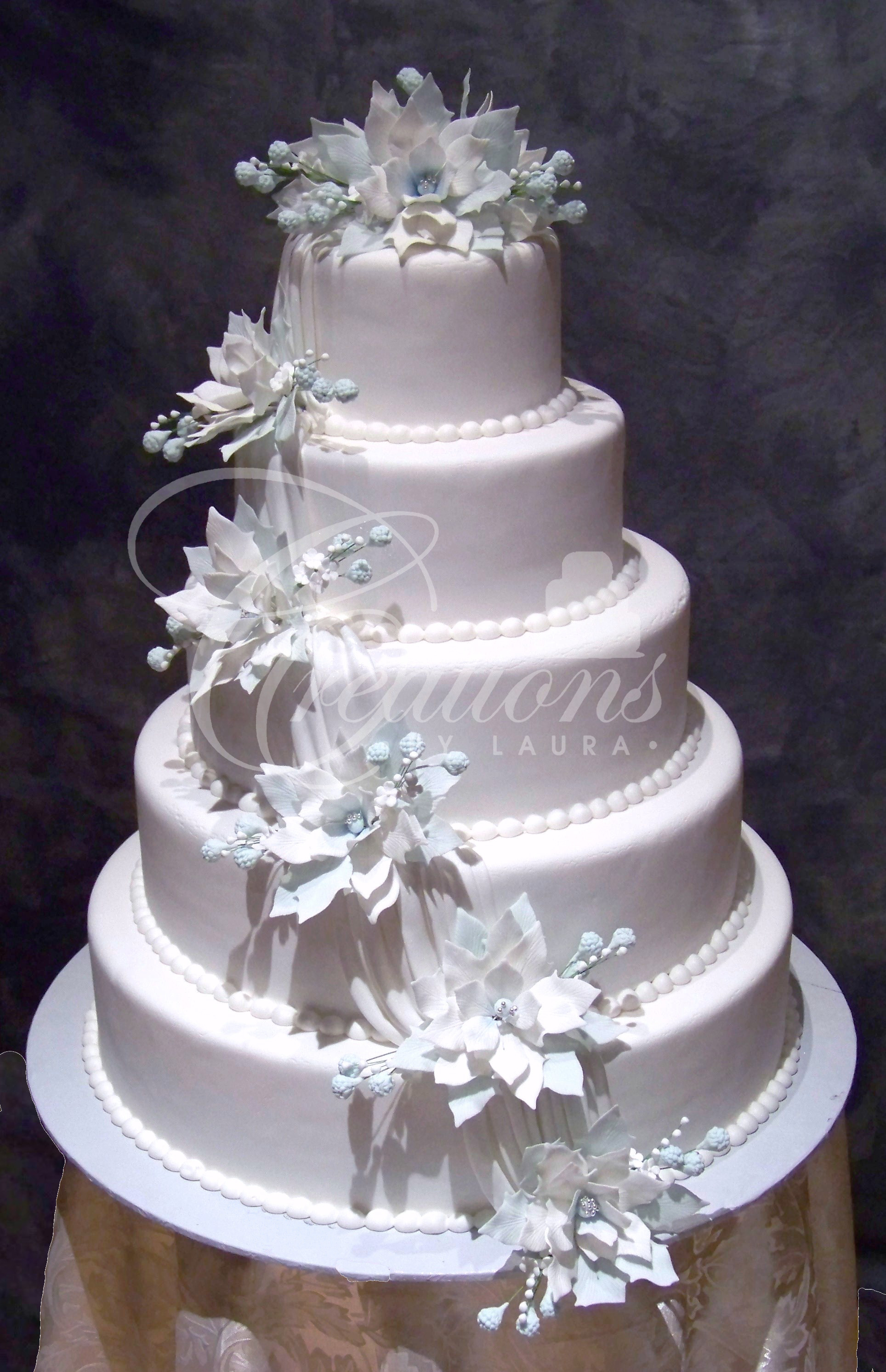 White Wedding Cake With Flowers  2010 Wedding Cakes