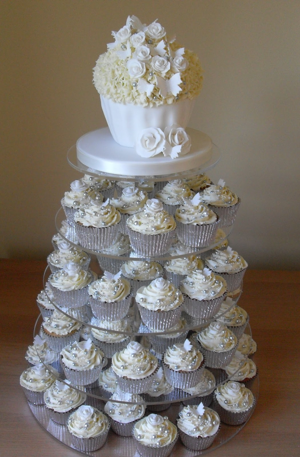 White Wedding Cupcakes  White and Silver Cupcake Tower