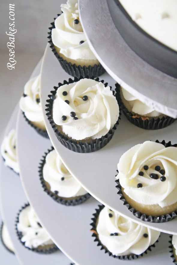 White Wedding Cupcakes  Black & White Wedding Cake and Cupcake Tower