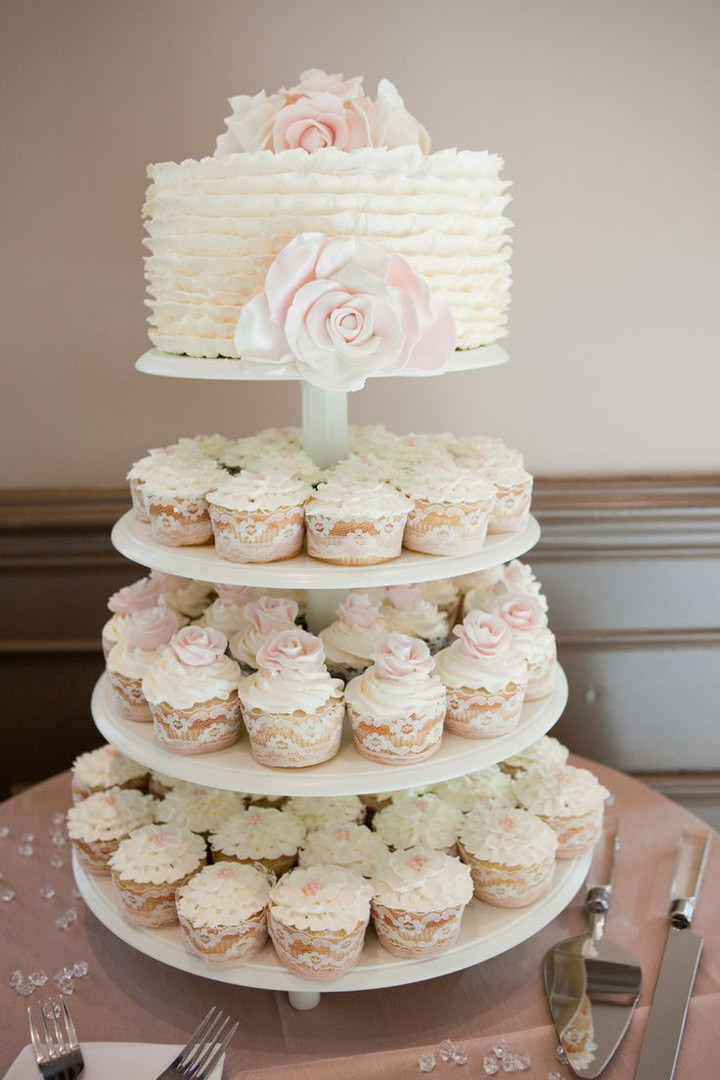 White Wedding Cupcakes  Cupcake Wedding Cakes Mon Cheri Bridals