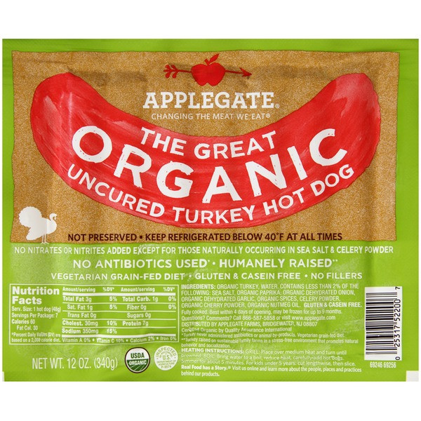Whole Foods Organic Turkey  Applegate Organic Turkey Hot Dogs from Whole Foods Market