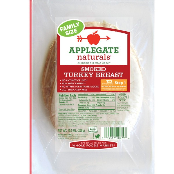 Whole Foods Organic Turkey  Applegate Natural Smoked Turkey Breast Family Size 10