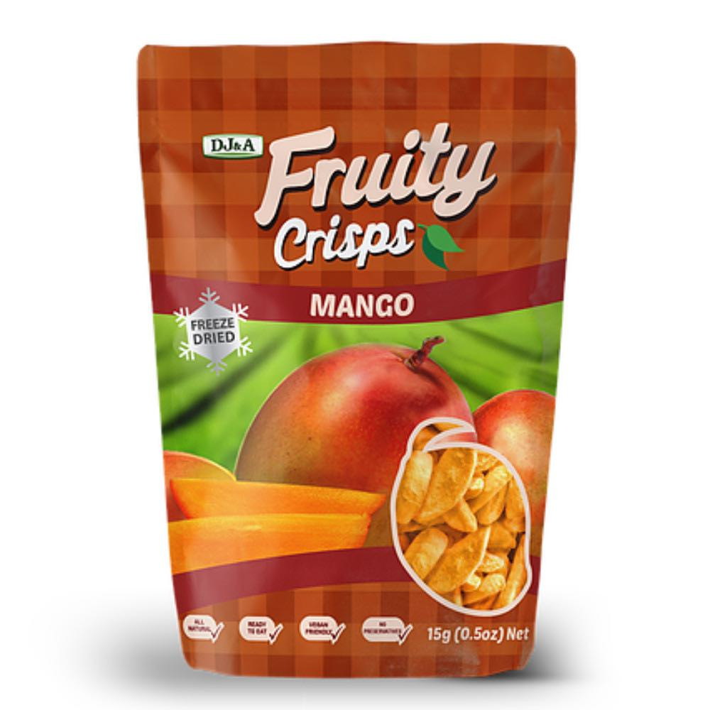 Wholesale Healthy Snacks  Box of 16 x 15g DJ&A Freeze Dried Crispy Mango Slices