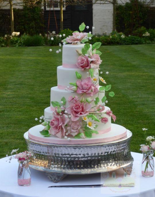 Wildflower Wedding Cakes  Wild roses wedding cake cake by Elaine Ginger Cat