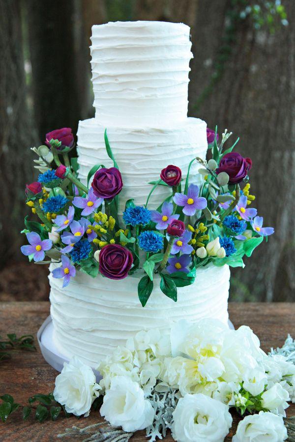 Wildflower Wedding Cakes  A Romantic Inspired Wedding with Sugar Wildflowers