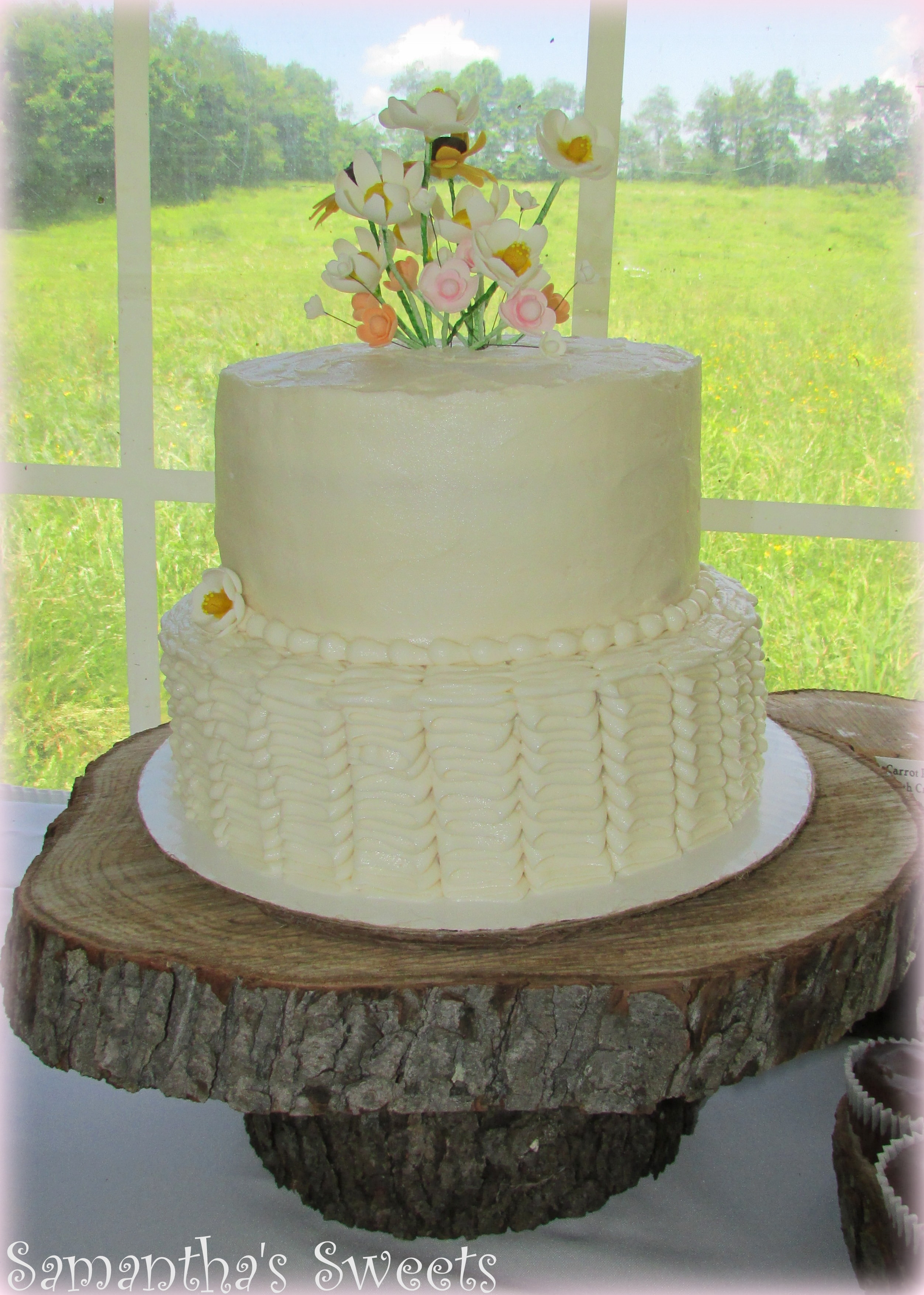 Wildflower Wedding Cakes  Wildflowers & Ruffles Rustic Wedding Cake CakeCentral
