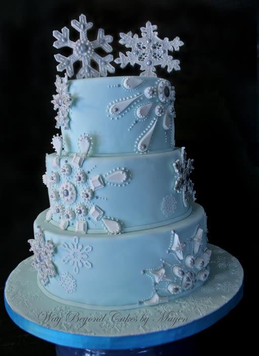 Winter Themed Wedding Cakes  Snowflake Themed Wedding Cake cake by Mayen Orido