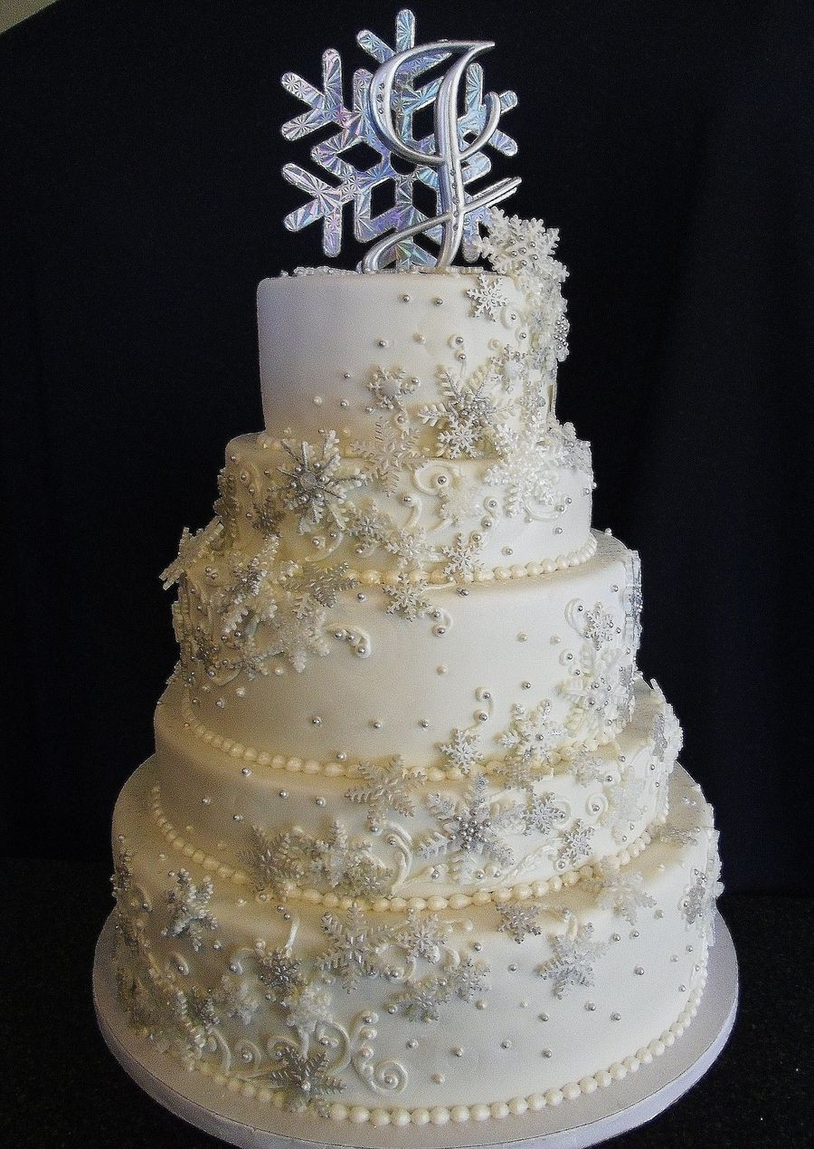 Winter Themed Wedding Cakes  Winter Wonderland Themed Wedding Hand made and painted