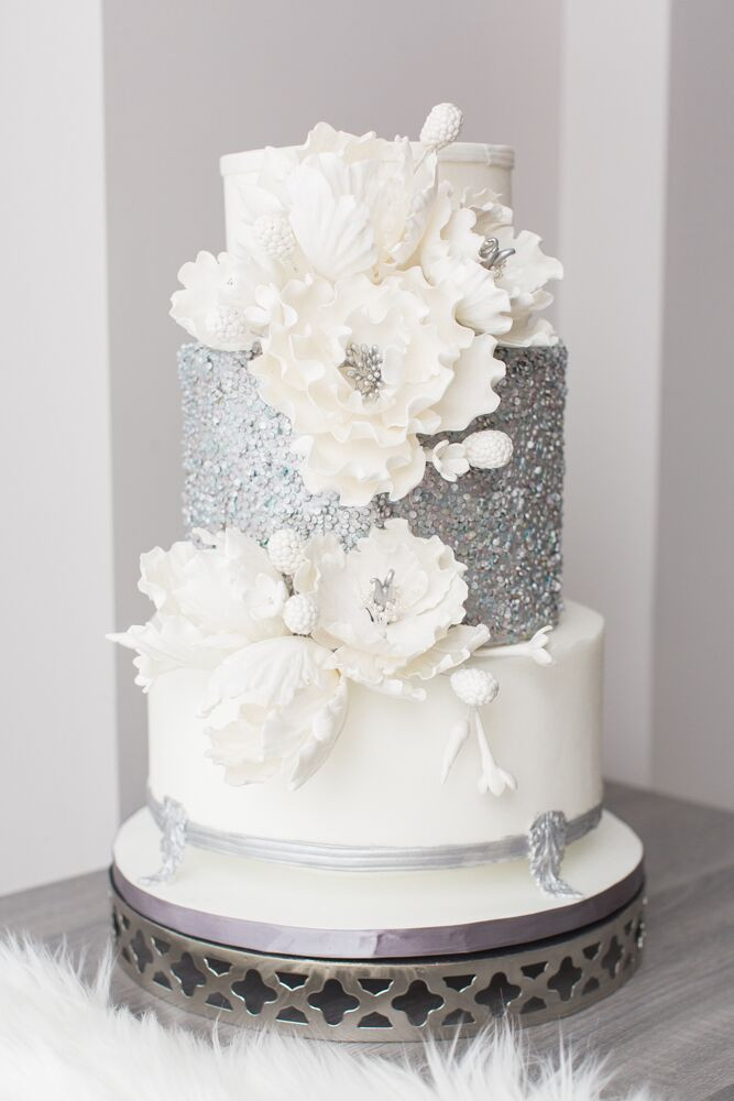 Winter Wonderland Wedding Cakes  Luxurious White and Blue Winter Wonderland Wedding