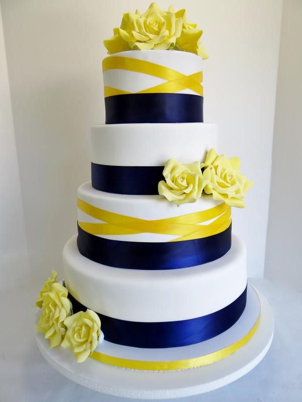 Yellow And Blue Wedding Cake  Blue and yellow wedding cake idea in 2017