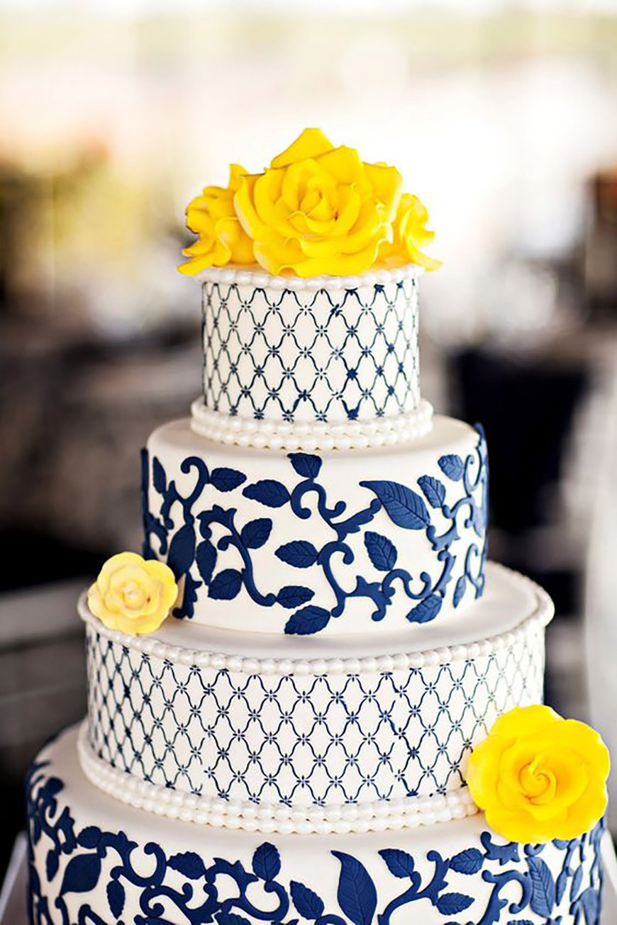 Yellow And Blue Wedding Cake  Navy Wedding Cake Decorations Wedding Ideas By Colour