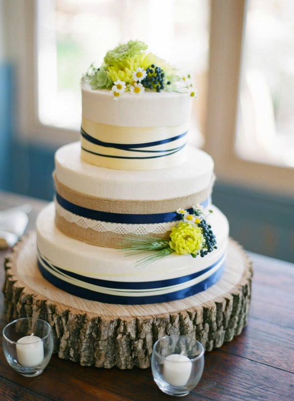 Yellow And Blue Wedding Cake  Inspired by This Military Wedding at Pippin Hill