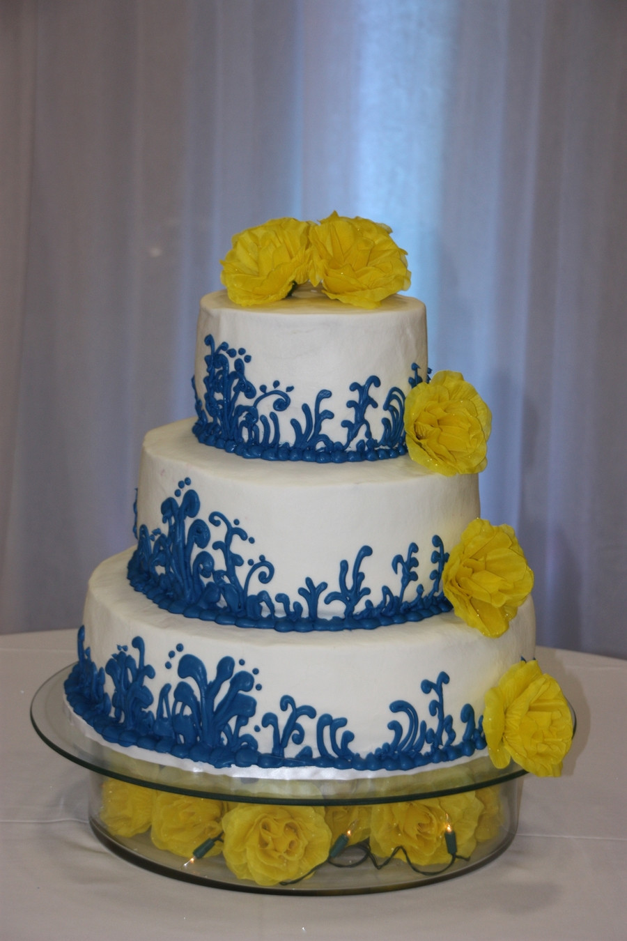 Yellow And Blue Wedding Cake  Blue And Yellow Wedding Cake CakeCentral