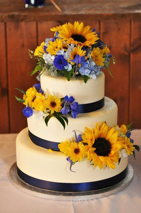 Yellow And Blue Wedding Cake  Navy blue and yellow wedding sunflowers wedding cake