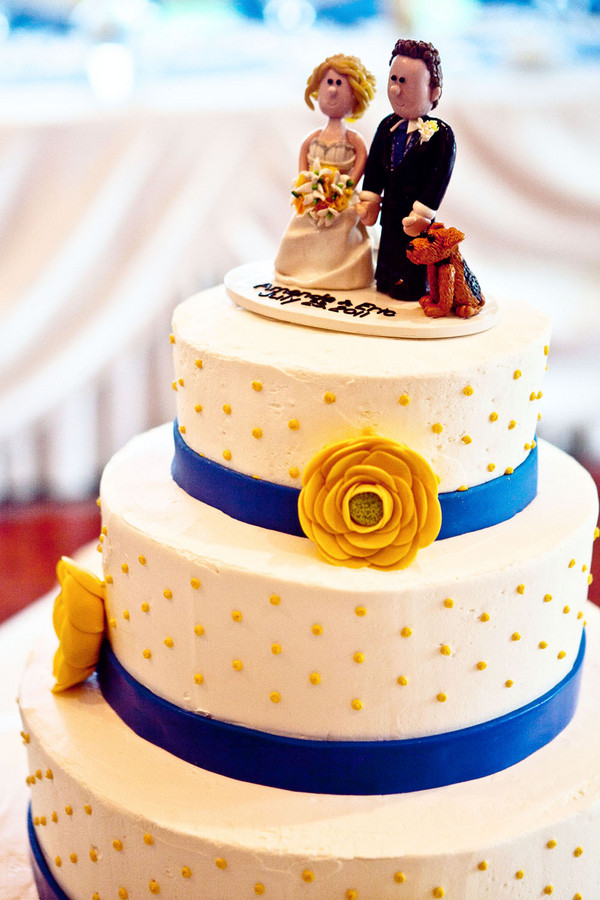 Yellow And Blue Wedding Cake  Blue and Yellow Aurora Country Club Wedding