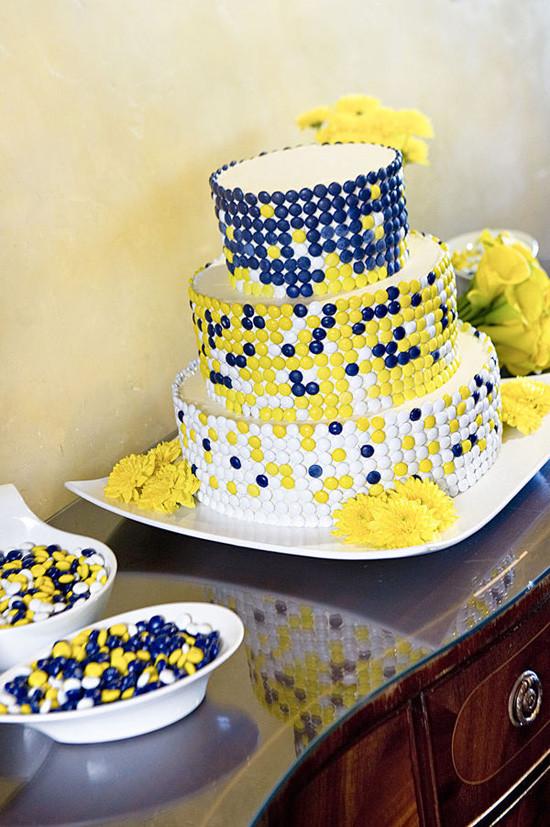 Yellow And Blue Wedding Cake  Wedding Cakes Blue and Yellow Candy Wedding Cake