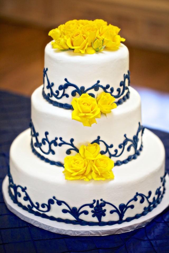 Yellow And Blue Wedding Cake  Yellow Wedding Blue And Yellow Wedding Cake
