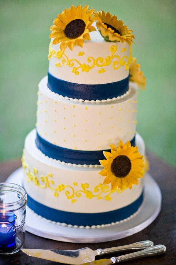 Yellow And Blue Wedding Cake  70 Sunflower Wedding Ideas and Wedding Invitations