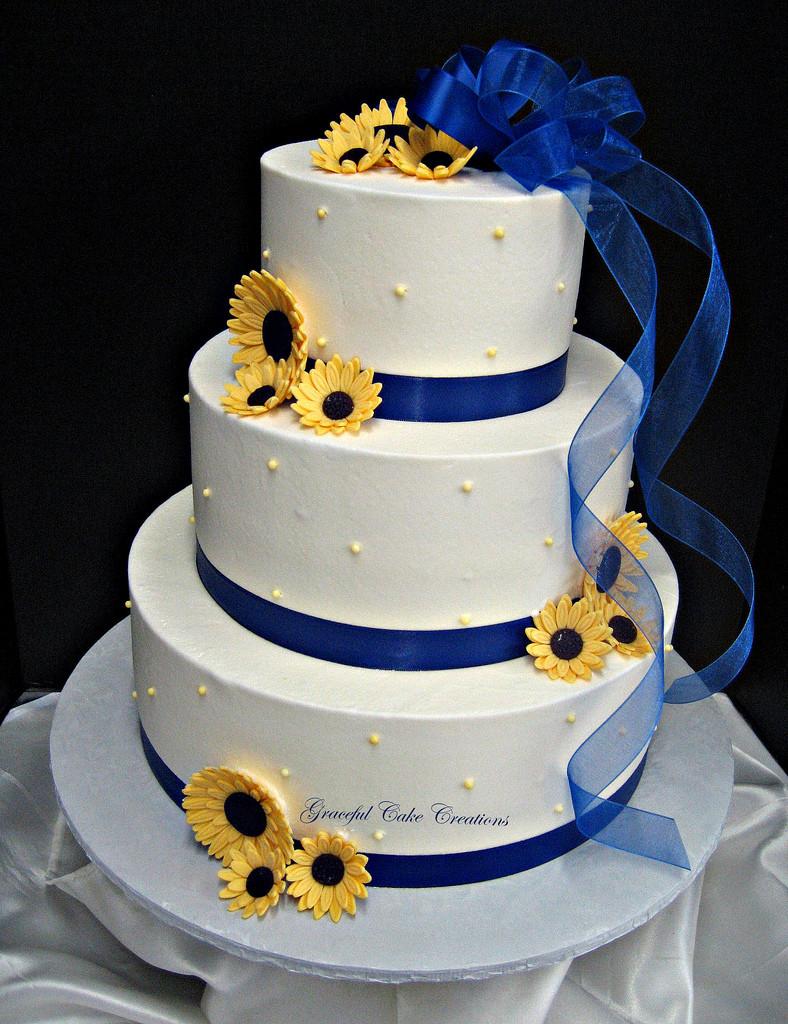 Yellow And Blue Wedding Cake  Elegant White Buttercream Wedding Cake with Royal Blue