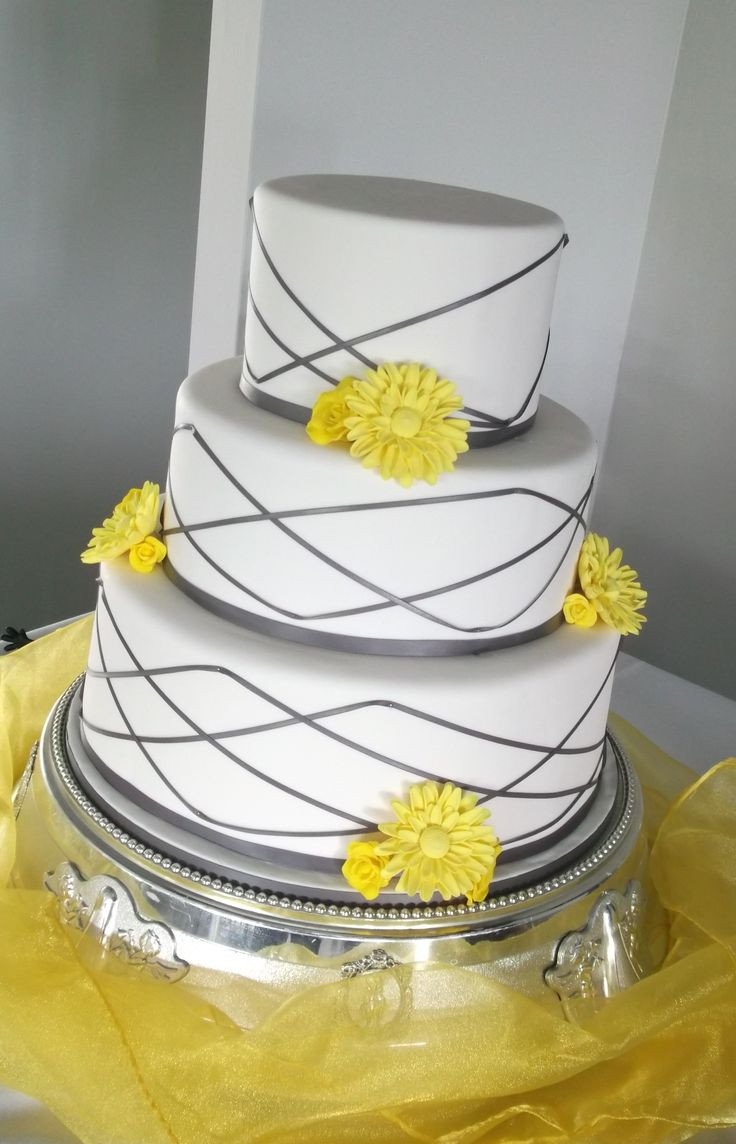 Yellow And Gray Wedding Cake  25 best ideas about Blue grey weddings on Pinterest