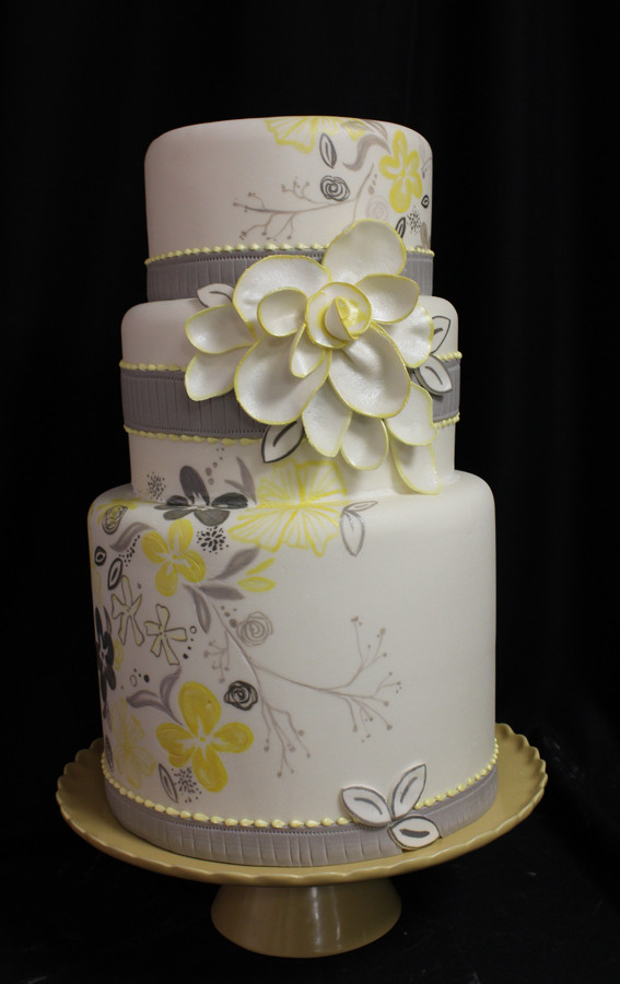 Yellow And Gray Wedding Cake  Gray a wedding color Yes