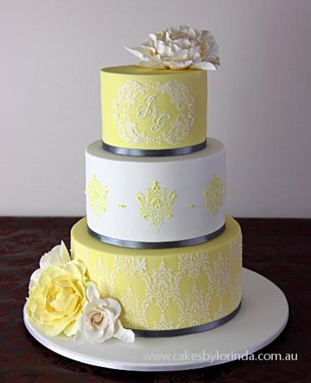 Yellow And Gray Wedding Cake  Yellow Wedding Cakes Asian Wedding Ideas