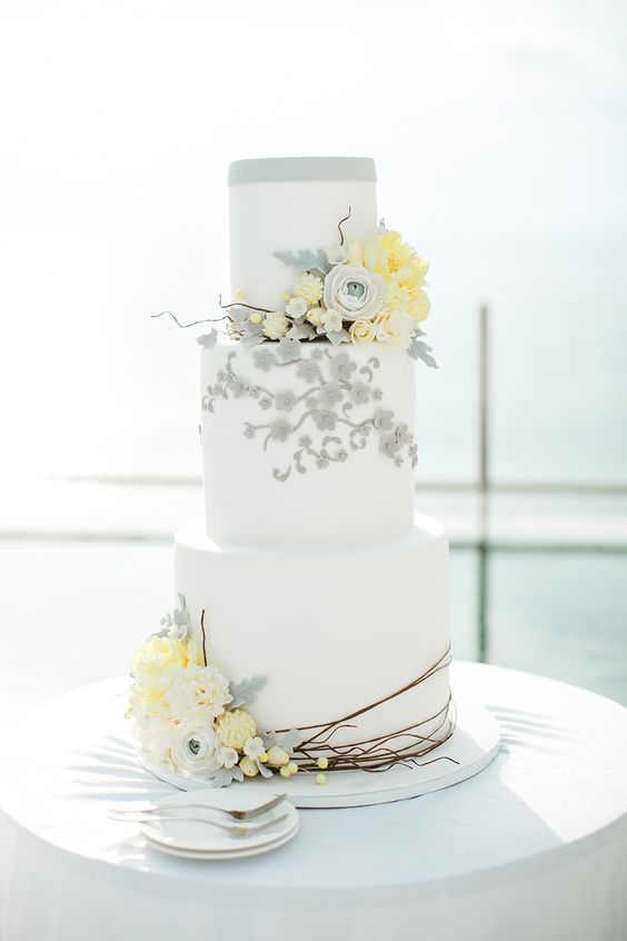 Yellow And Gray Wedding Cake  4 Best Summer Wedding Color bos And 25 Examples