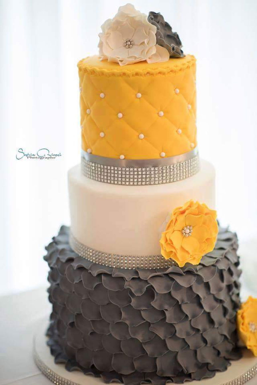 Yellow And Gray Wedding Cake  Grey And Yellow Wedding Cake CakeCentral