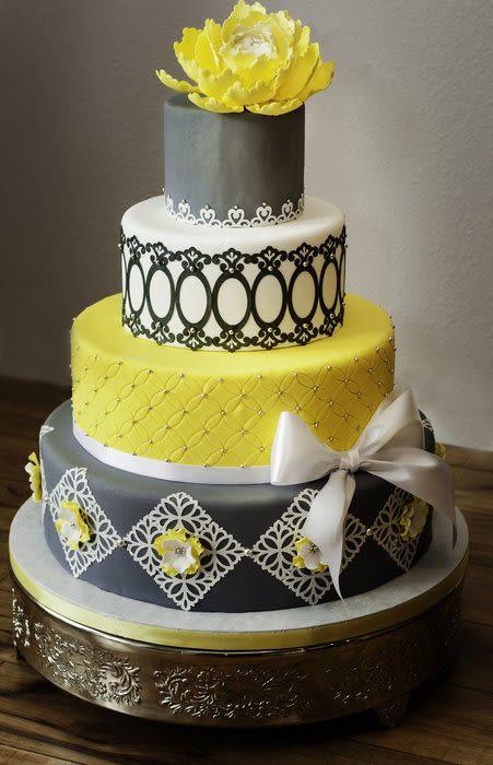 Yellow And Gray Wedding Cake  Grey and yellow wedding cake Cake by Susan maestas