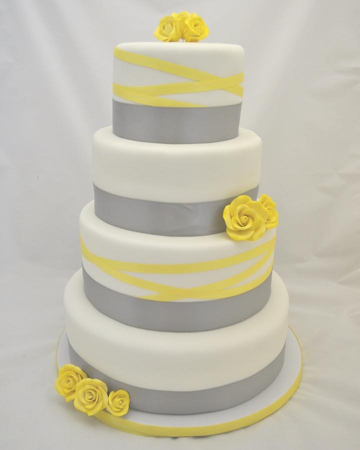Yellow And Gray Wedding Cake  Grey and canary yellow wedding