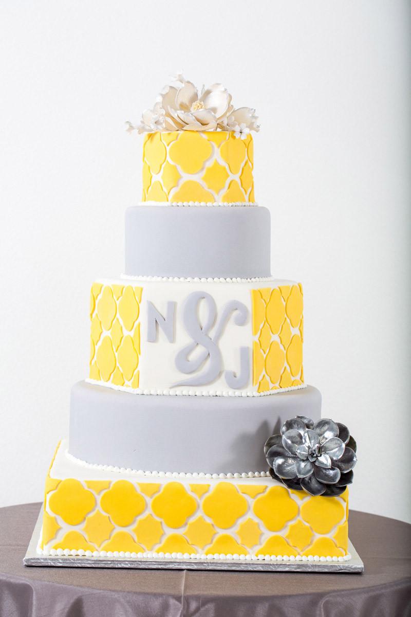 Yellow And Gray Wedding Cake  50 Shades of Grey… Weddings