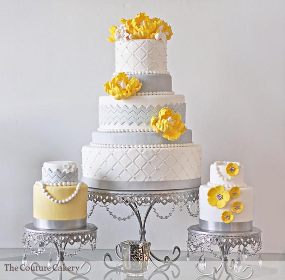 Yellow And Gray Wedding Cake  peony wedding cakes