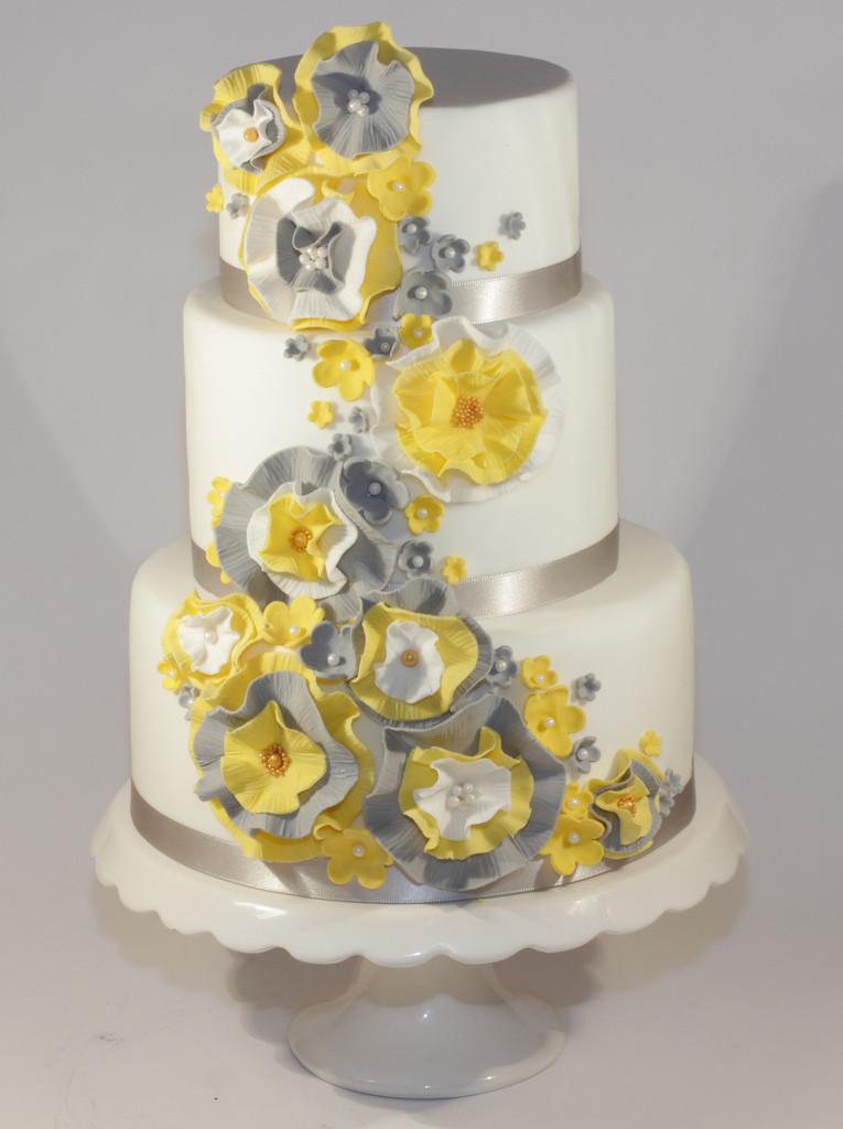 Yellow And Gray Wedding Cake  yellow & grey ruffle wedding cake